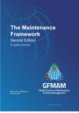 Blue cover image with GFMAM logo and title Maintenance Framework Second Edition English